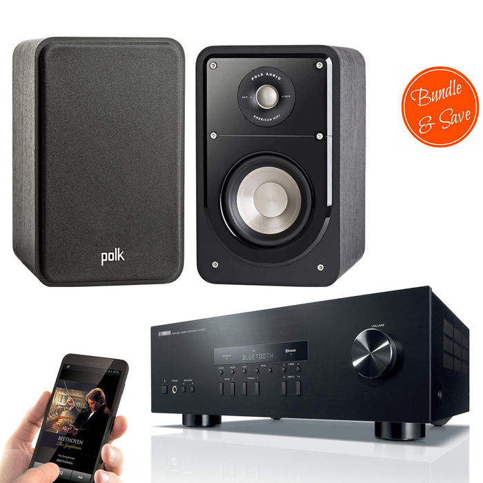 Yamaha RS202 Amplifier Bluetooth Receiver + Polk Audio S15 Bookshelf Speakers - 2-0 Stereo Music System  # AM200019 - Best Home Theatre Systems - Audiomaxx India