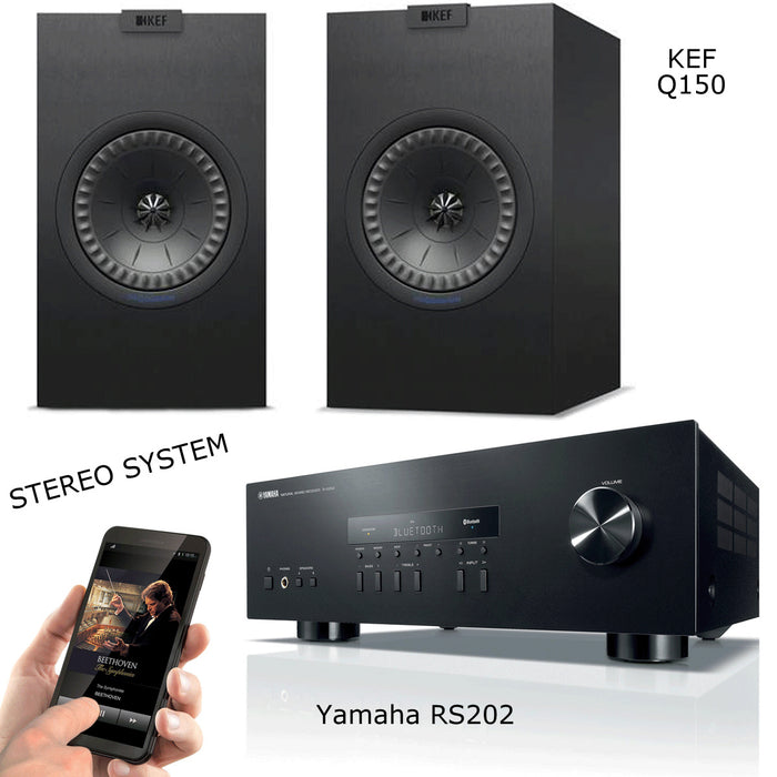 Yamaha RS 202 Stereo Amplifier Bluetooth Receiver + KEF Q150 Bookshelf Speakers 2.0 Stereo Music System # AM200042 - Best Home Theatre Systems - Audiomaxx India