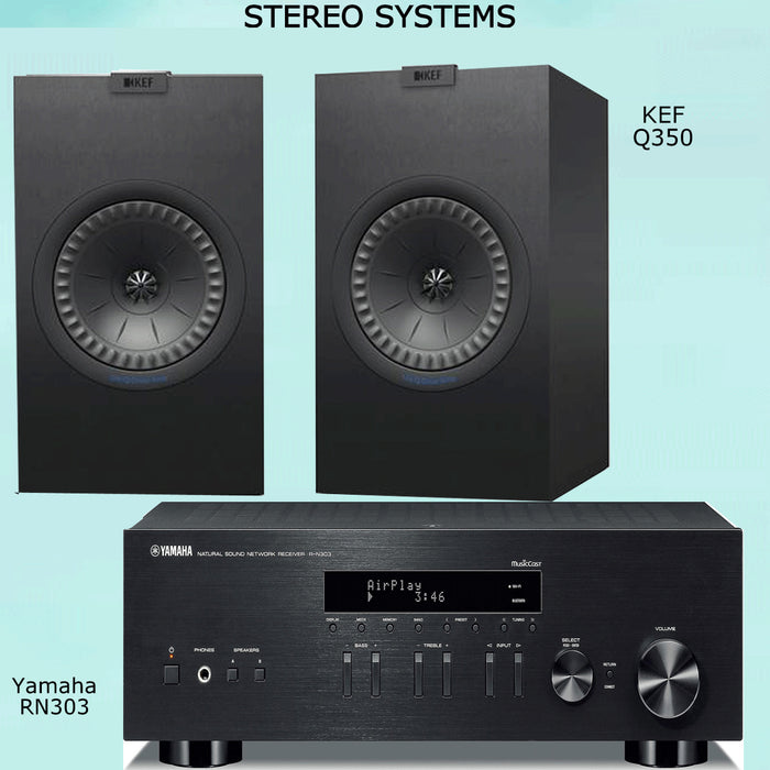 Yamaha RN303 Stereo Amplifier Bluetooth Receiver + KEF Q350 Bookshelf Speakers 2.0 Stereo Music System # AM200037 - Best Home Theatre Systems - Audiomaxx India
