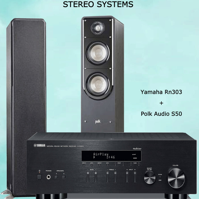 Yamaha RN303 Stereo Amplifier Bluetooth Receiver + Polk Audio s50 Tower Speakers 2.0 Stereo Music System # AM200035 - Best Home Theatre Systems - Audiomaxx India