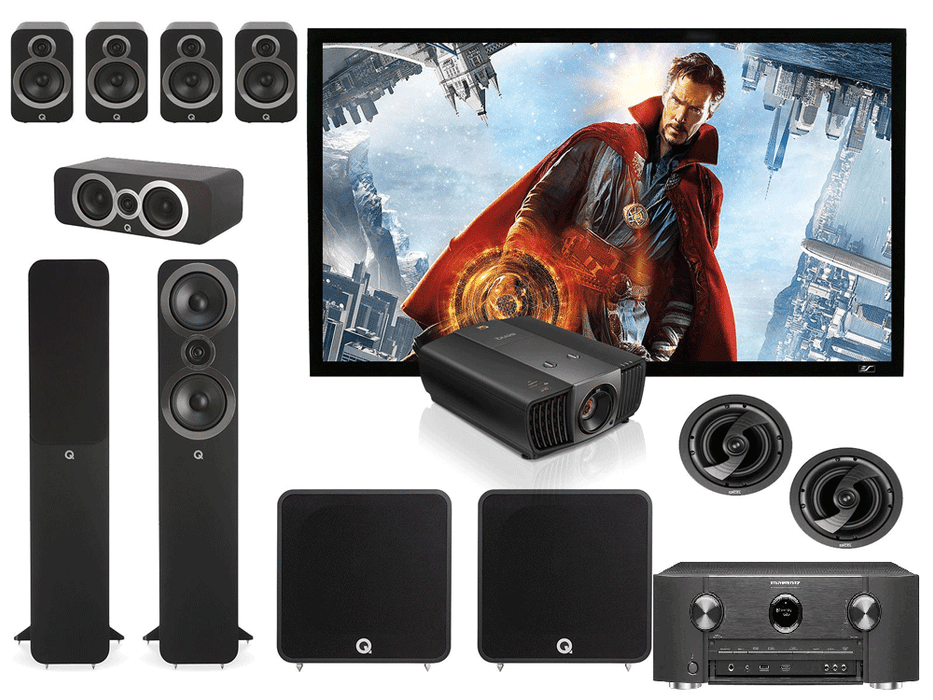 Marantz SR6014 Audio-Video Receiver + Q Acoustics Q3050i Speaker Set + BenQ W5700 4K Projecor - Dolby Atmos 9.2 Home Theater Package # AM902001 - Best Home Theatre Systems - Audiomaxx India
