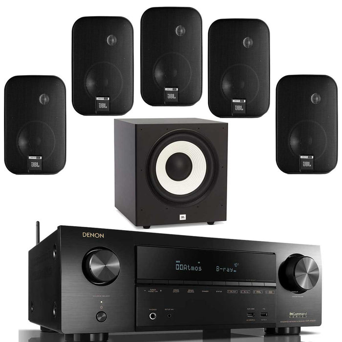 "Denon AVR X1600H With Control One Speaker Set + A100P 10"" Subwoofer - Dolby 5.1 Home Theater Package # AM501065 - Best Home Theatre Systems - Audiomaxx India"