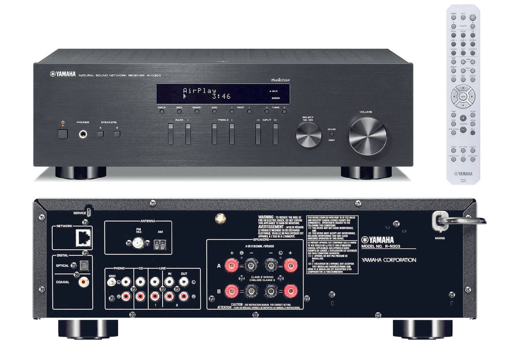 Yamaha R-N303 Network Stereo Amplifier 100w x 2 @8 Ohms, Wi-Fi, Bluetooth, Airplay, MusicCast - Best Home Theatre Systems - Audiomaxx India