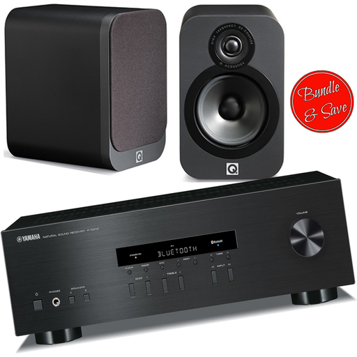 Yamaha RS202 Amplifier FM Bluetooth With Q Acoustics Q3020i Bookshelf Speakers - 2.0 Stereo Music System # AM200003 - Best Home Theatre Systems - Audiomaxx India