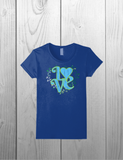 LOVE tee shirt / Beautiful Design / Floral Retro Look with Heart and Flowers in Blue
