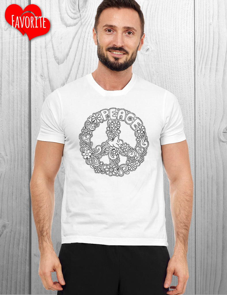 Peace Sign Tee shirt to color in / Mandala Coloring Tee Shirt