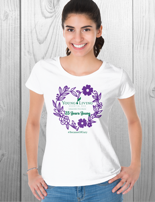 🌱Young Living Tee Shirt | 25 Years Young | Heart with Flowers🌱
