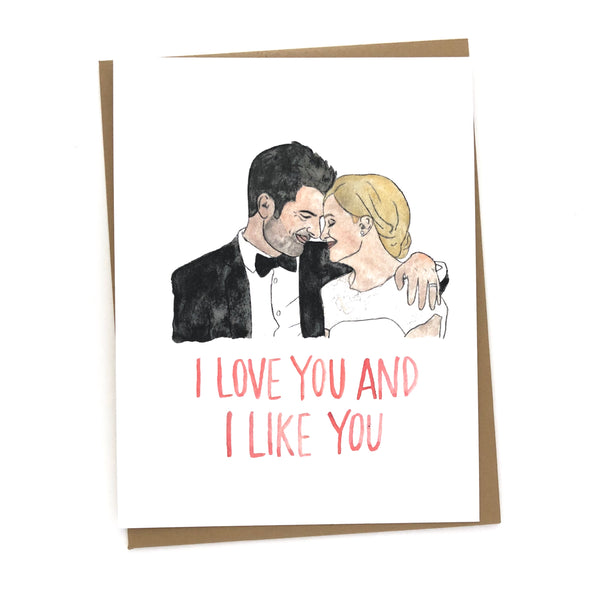 Parks and Rec Card// Ben & leslie