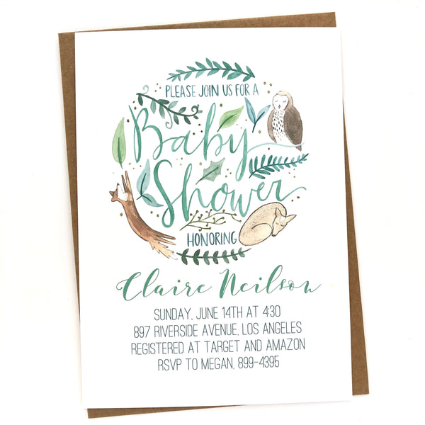 Woodland Baby Shower Invitations // Customized