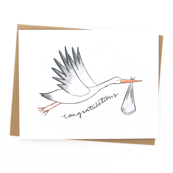 Baby Shower Card // Stork Card
