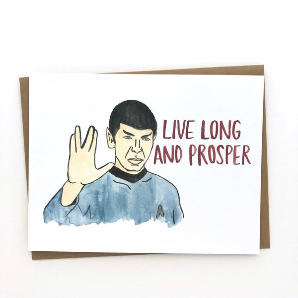 Star Trek Birthday Card// Spock Live Long & Prosper