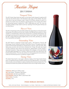 2016 Austin Hope Syrah Paso Robles