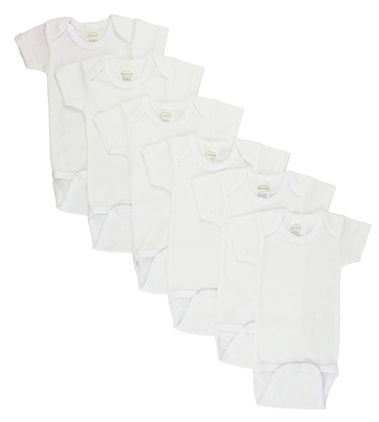 Bambini White Short Sleeve One Piece 6 Pack