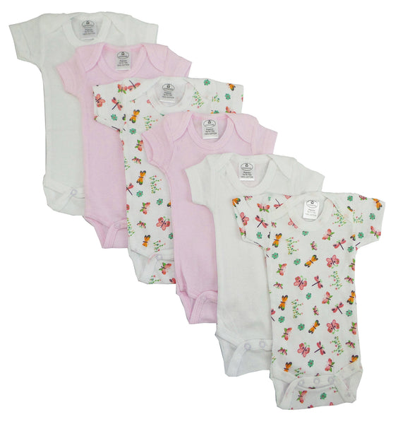 Bambini Girls' Printed Short Sleeve 6 Pack