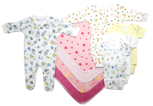 Bambini Newborn Baby Girls 9 Pc Layette Baby Shower Gift Set