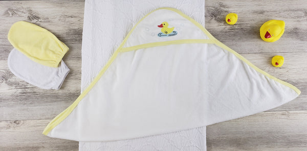 Bambini Hooded Towel and Bath Mittens