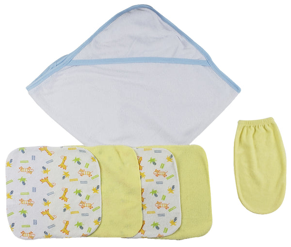 Blue Hooded Towel, Washcloths and Hand Washcloth Mitt - 6 Pc Set