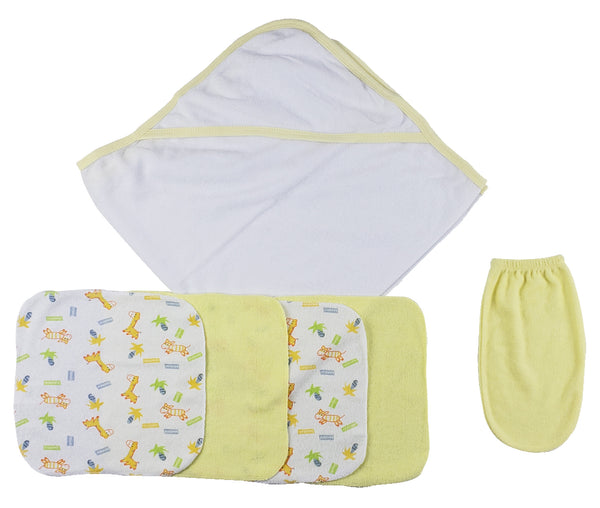 Yellow Hooded Towel, Washcloths and Hand Washcloth Mitt - 6 Pc Set