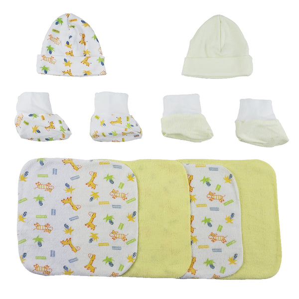Two Rib Knit Infant Caps and Booties Sets and Four Washcloths - 8 Pc Set