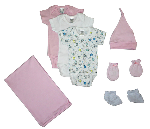Bambini Newborn Baby Girls 7 Pc Layette Baby Shower Gift Set
