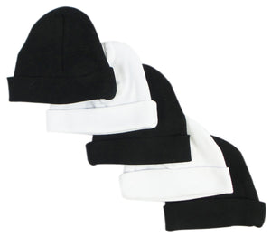 Bambini Black & White Baby Caps (Pack of 5)