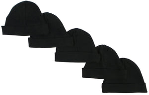 Bambini Black Baby Cap (Pack of 5)