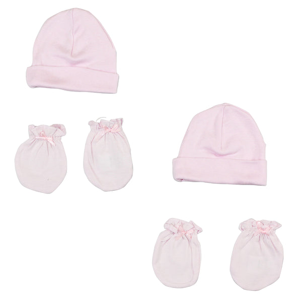 Bambini Girls' Cap and Mittens 4 Piece Layette Set