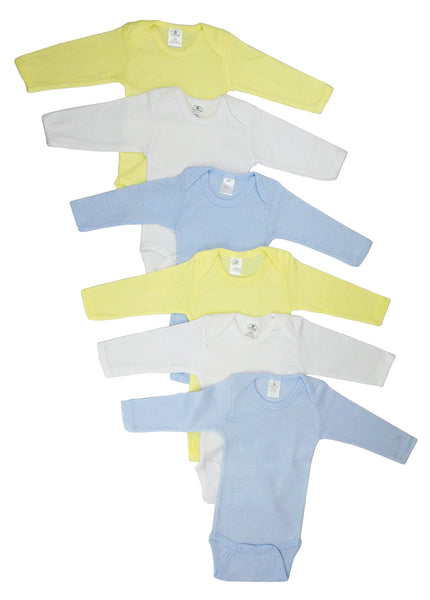 Bambini Boys' Pastel Long Sleeve Onezie 6 Pack