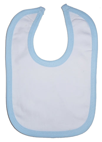 White Interlock Bib Blue Binding