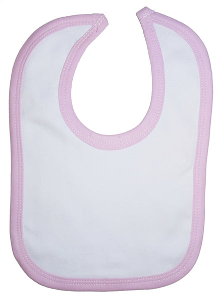 White Interlock Bib Pink Binding