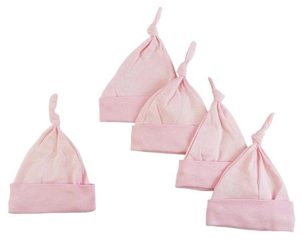 Bambini Pink Knotted Baby Cap (Pack of 5)