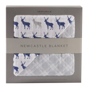 Blue Deer & Glacier Grey Newcastle Blanket