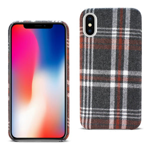 iPhone X Plaid Fabric Case In Brown