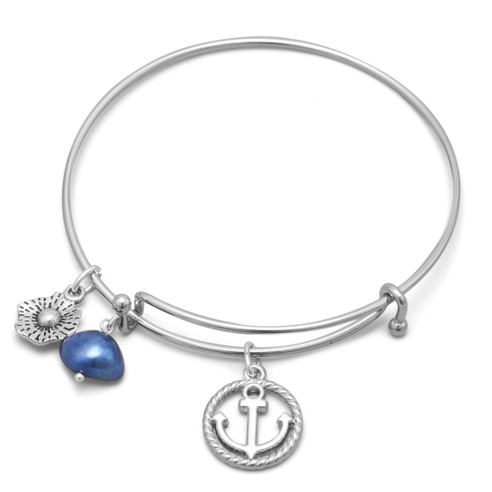 Expandable Anchor Charm Fashion Bangle Bracelet