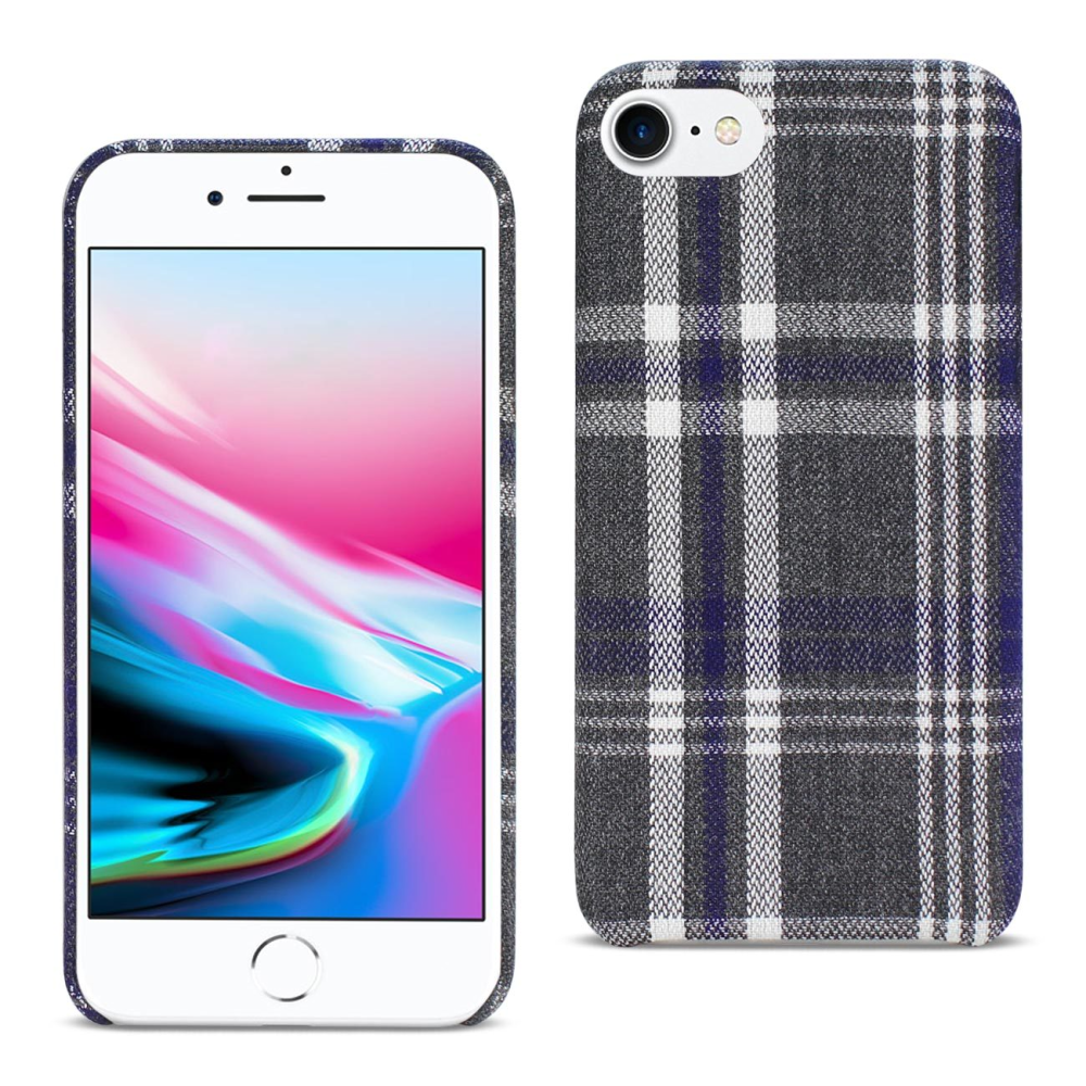 iPhone 8 Plaid Fabric Case in Black