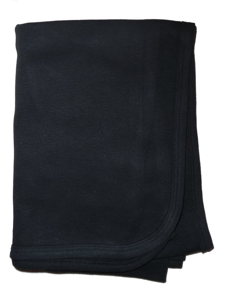 Bambini Black Interlock Receiving Blanket