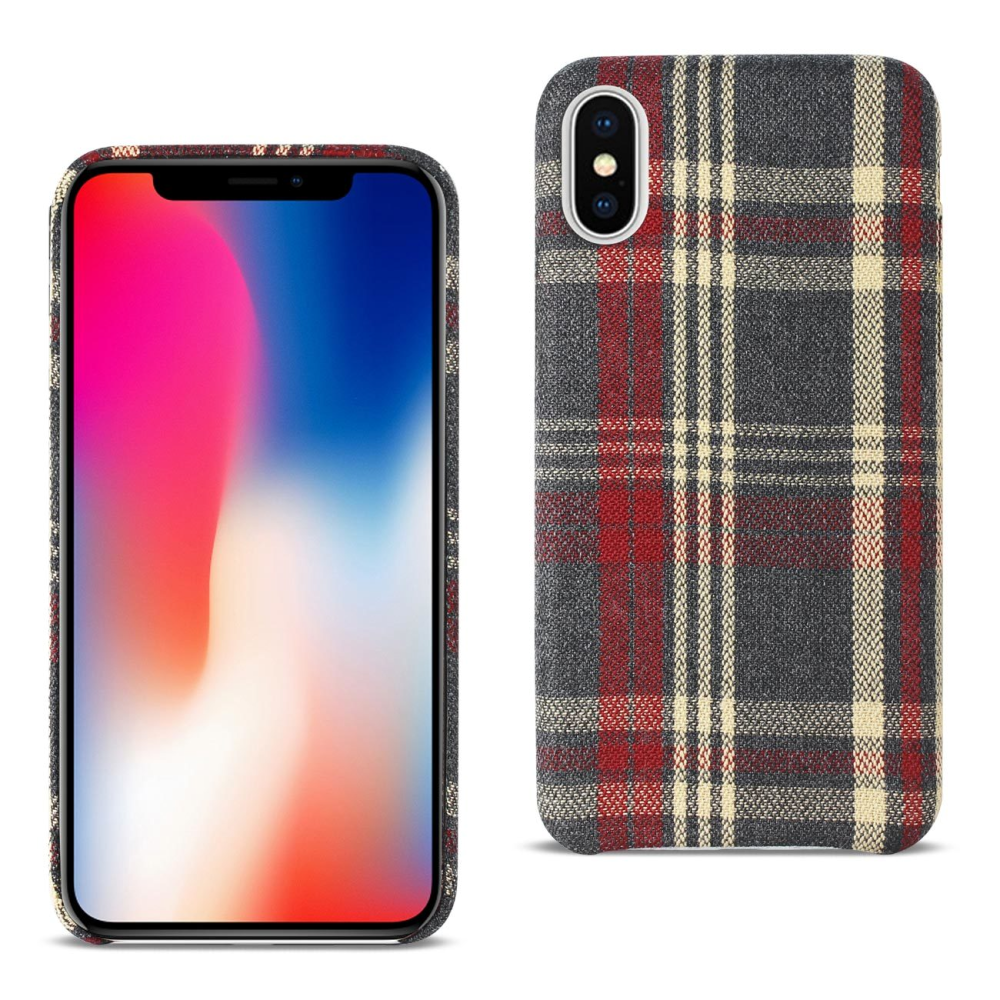 Reiko iPhone X Plaid Fabric Case In Red