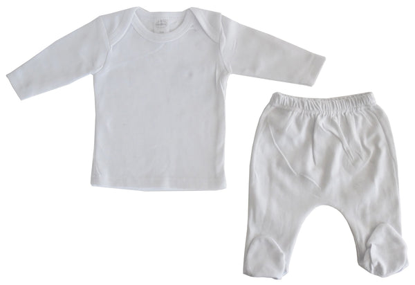 Bambini White Interlock Long Two Piece Set