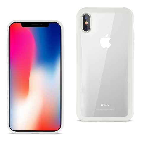 iPhone X Hard Glass Case With Tempered Glass Screen Protector In Clear White