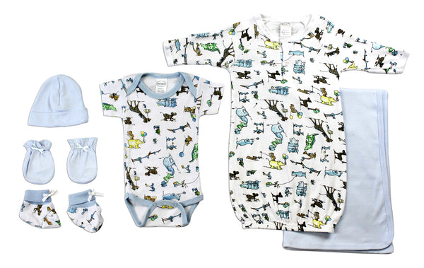 Bambini Newborn Baby Boys 6 Pc Layette Baby Shower Gift Set