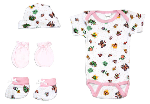 Bambini Newborn Baby Girls 4 Pc Layette Baby Shower Gift Set