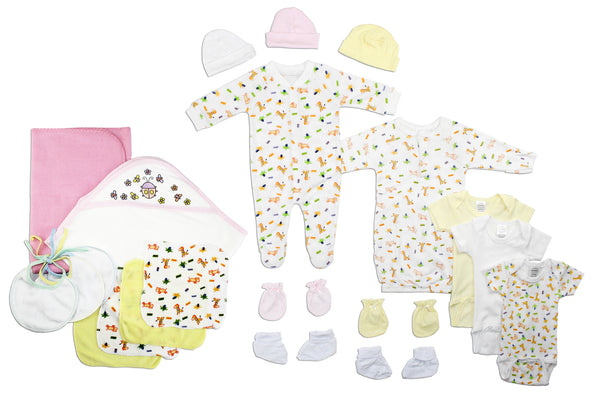 Bambini Newborn Baby Girls 21 Pc Layette Baby Shower Gift Set