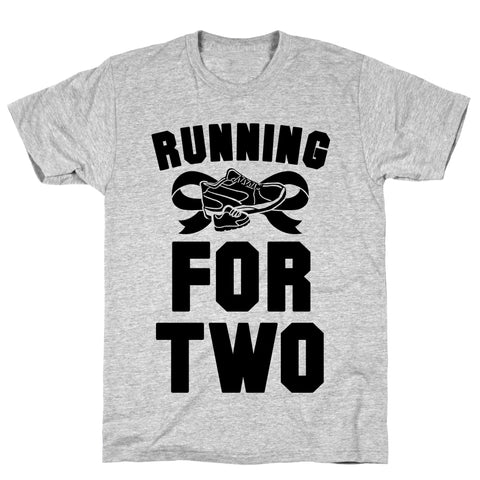 Running for Two Athletic Gray Unisex Cotton Tee by