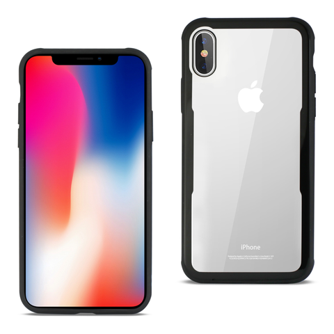 iPhone X Hard Glass Case With Tempered Glass Screen Protector In Clear Black