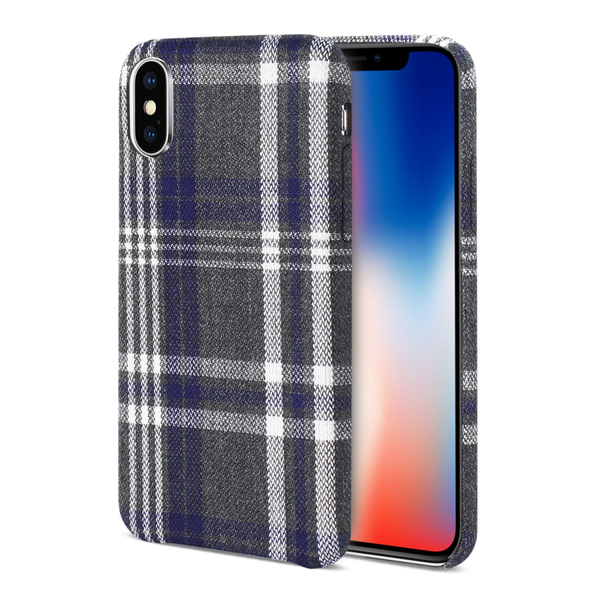 iPhone X Plaid Fabric Case In Black