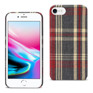iPhone 8 Plaid Fabric Case In Red