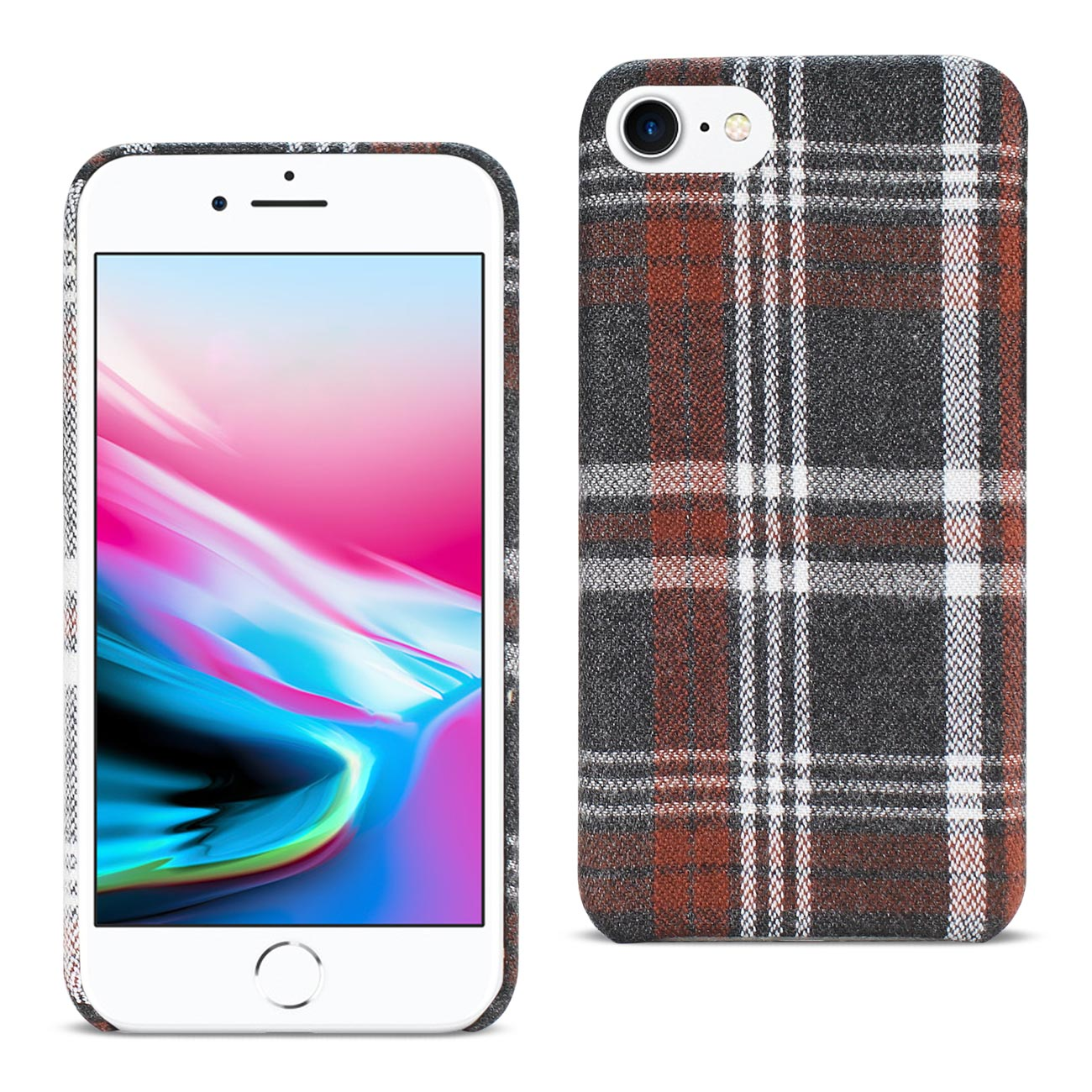 CLEARANCE: iPhone 8 Brown Checkered Fabric Case