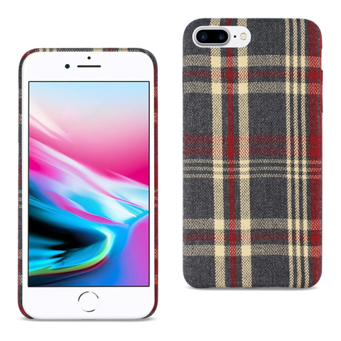 iPhone 8 Plus Plaid Fabric Case In Red
