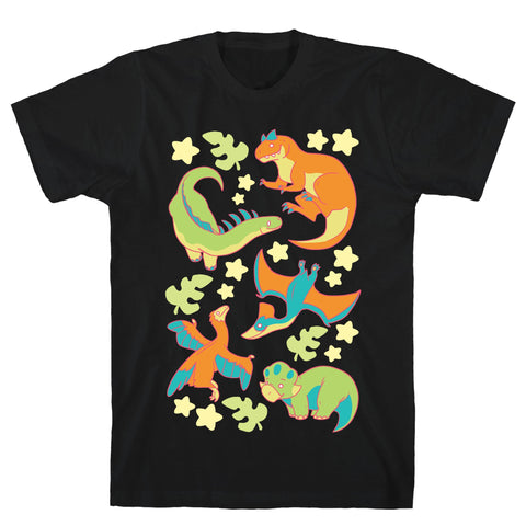 Funky Dinosaur Friends Black Unisex Cotton Tee by LookHUMAN