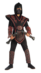 Red Skull Warrior Ninja Boys Costume L